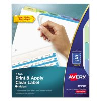 Avery Print & Apply Clear Label Dividers, 5-Tab, Multi-color Tab, Letter, 5 Sets AVE11990