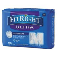 "Medline FitRight Ultra Protective Underwear, Medium, 28-40"" Waist, 20/Pack MIIFIT23005A"