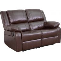 Flash Furniture Harmony Series Brown Leather Loveseat with Two Built-In Recliners FHFBT70597LSBNGG