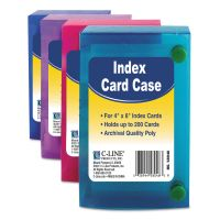 C-Line Index Card Case, Holds 200 4 x 6 Cards, Polypropylene, Assorted CLI58046