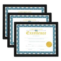 Universal All Purpose Document Frame, 8 1/2 x 11 Insert, Black, 3/Pack UNV76848