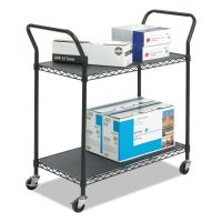 Safco Wire Utility Cart, Two-Shelf, 43-3/4w x 19-1/4d x 40-1/2h, Black SAF5337BL