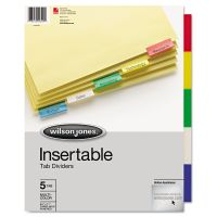 Wilson Jones Single-Sided Reinforced Insertable Index, 5-Tab, Multi-color Tab, Letter, 1 Set WLJ54309