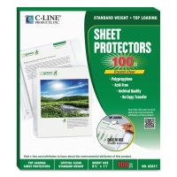 C-Line Top Loading Sheet Protectors, Letter, Standard Weight, Clear, 100/Box CLI62617
