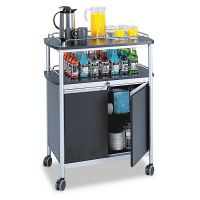 Safco Mobile Beverage Cart, 33-1/2w x 21-3/4d x 43h, Black SAF8964BL
