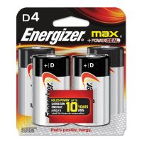 Energizer MAX Alkaline Batteries, D, 4 Batteries/Pack EVEE95BP4