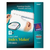 Avery Print & Apply Clear Label Dividers, 8-Tab, White Tab, Letter, 25 Sets AVE11447