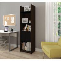 Bestar Small Space 20-inch Storage Tower in Dark Chocolate and Black BESBES167001179