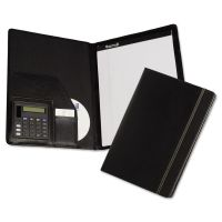 Samsill Slimline Padfolio, Leather-Look/Faux Reptile Trim, Writing Pad, Black SAM71220