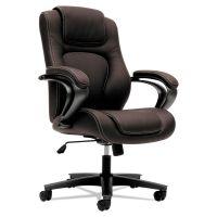 HON VL402 Series Executive High-Back Chair, Brown Vinyl BSXVL402EN45