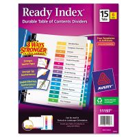 Avery Ready Index Customizable Table of Contents, Asst Dividers, 15-Tab, Ltr, 6 Sets AVE11197