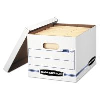 Bankers Box STOR/FILE Storage Box, Letter/Legal, Lift-off Lid, White/Blue, 12/Carton FEL00703