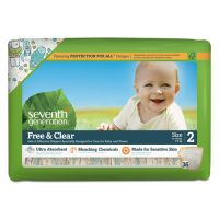 Seventh Generation Free and Clear Baby Diapers, Size 2, 12 lbs to 18 lbs, 144/Carton SEV44061