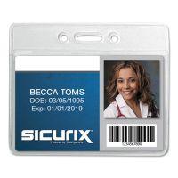 SICURIX Sicurix Badge Holder, Horizontal, 2 1/8 x 3 3/8, Clear, 12/Pack BAU67810