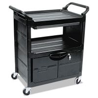Rubbermaid Commercial Utility Cart With Locking Doors, Two-Shelf, 33-5/8w x 18-5/8d x 37-3/4h, Black RCP345700BLA