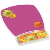 3M Fun Design Clear Gel Mouse Pad Wrist Rest, 6 4/5 x 8 3/5 x 3/4, Daisy Design MMMMW308DS