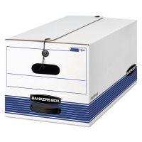 Bankers Box STOR/FILE Storage Box, Letter, Button Tie, White/Blue, 12/Carton FEL00704