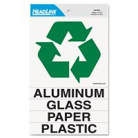 Headline Sign Self-Stick Recycled Combo Decal, One Symbol Decal 5-1/4x6; Four Titles-7/8x6 USS4459