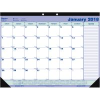 Blueline Desk Pad Calendar, 21 1/4 x 16, Blue/White/Green, 2018 REDC181731