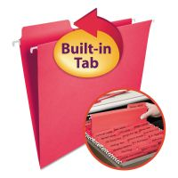 Smead FasTab Hanging File Folders, Letter, Red, 20/Box SMD64096