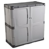 Rubbermaid Double-Door Storage Cabinet - Base, 36w x 18d x 36h, Gray/Black RUB7085