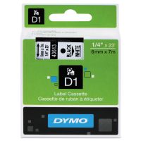 "DYMO D1 High-Performance Polyester Removable Label Tape, 1/4"" x 23 ft, Black on White DYM43613"