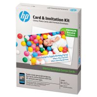 HP Card & Invitation Kit for Glossy Rounded Corner Flat Cards, 5 x 7, 25/Kit HEWK6B84A