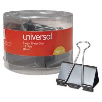 """Universal Large Binder Clips, 1"""" Capacity, 2"""" Wide, Black, 12/Pack UNV11112"""