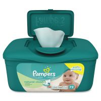 Pampers Natural Clean Baby Wipes, Unscented, White, Cotton, 72/Tub, 8 Tub/Carton PGC28252