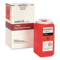 TrustMedical Sharps Retrieval Program Containers, 1.5 qt, Plastic, Red TMDSC1Q424A1Q