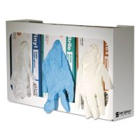 San Jamar White Enamel Disposable Glove Dispenser, Three-Box, 18w x 3 3/4d x 10h SJMG0804