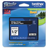 """Brother P-Touch TZe Standard Adhesive Laminated Labeling Tape, 1/2""""w, White on Black BRTTZE335"""