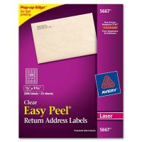Avery Matte Clear Easy Peel Return Address Labels, Laser, 1/2 x 1 3/4, 2000/Box AVE5667
