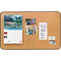 "Post-it Sticky Cork Board, 22"" x 36"", Black and Gray, Includes Command Fasteners MMM558BB"