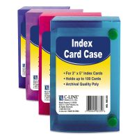 C-Line Index Card Case, Holds 100 3 x 5 Cards, Polypropylene, Assorted CLI58335