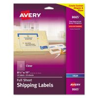 Avery Matte Clear Shipping Labels, Inkjet, 8 1/2 x 11, 25/Pack AVE8665