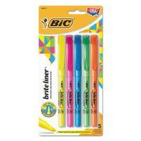 BIC Brite Liner Highlighter, Chisel Tip, Assorted Colors, 5/Set BICBLP51WASST