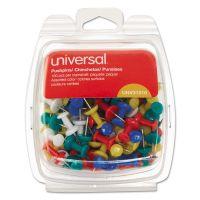 "Universal Colored Push Pins, Plastic, Rainbow, 3/8"", 100/Pack UNV31310"