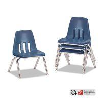 "Virco 9000 Series Classroom Chairs, 10"" Seat Height, Navy/Chrome, 4/Carton VIR901051"