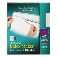 Avery Index Maker Print & Apply Clear Label Plastic Dividers, 5-Tab, White Tab, Letter, 5 Sets AVE12449