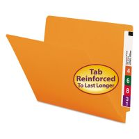 Smead Colored File Folders, Straight Cut, Reinforced End Tab, Letter, Orange, 100/Box SMD25510