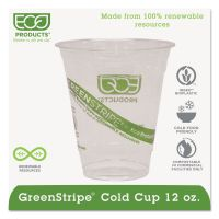 Eco-Products GreenStripe Renewable & Compostable Cold Cups - 12oz., 50/PK, 20 PK/CT ECOEPCC12GS