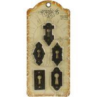 "Staples Ornate Metal Key Holes 1""X2.125"" 5/Pkg NOTM445467"