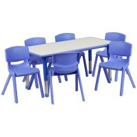 Flash Furniture 23.625''W x 47.25''L Adjustable Rectangular Blue Plastic Activity Table Set with 6 School Stack Chairs FHFYUYCY0600036RECTTBLBLUEGG