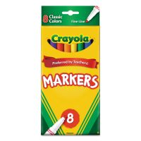 Crayola Non-Washable Markers, Fine Point, Classic Colors, 8/Set CYO587709