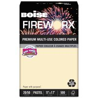 Boise FIREWORX Colored Paper, 20 lb, 11 x 17, Flashing Ivory, 500 Sheets/Ream CASMP2207IYRM