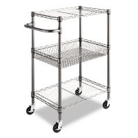 Alera Three-Tier Wire Cart with Basket, 28w x 16d x 39h, Black Anthracite ALESW342416BA
