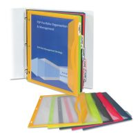 C-Line Binder Pocket With Write-On Index Tabs, 9 11/16 x 11 3/16, Assorted, 5/Set CLI06650