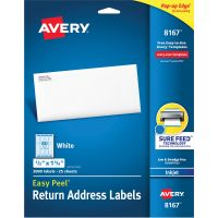 Avery Easy Peel Return Address Labels, Inkjet, 1/2 x 1 3/4, White, 2000/Pack AVE8167