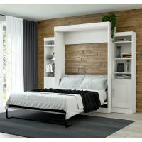 """Bestar Edge by Bestar Queen Wall Bed with two 21"""" Storage Units in White BESBES7088317"""